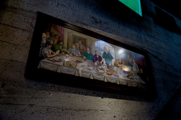 A painting hangs in the pub featuring the great brewers of the Bay Area with a little bit of artistic symbolism - © Michael Warth
